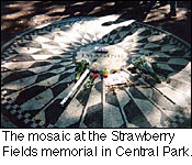 The mosaic at the Strawberry Fields memorial in Central Park.